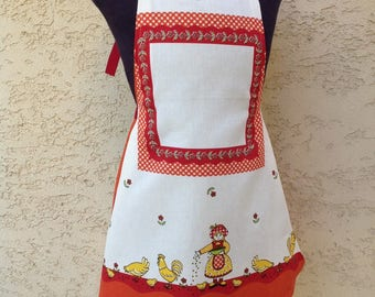 Girl age 4/8 apron handmade original apron, funny apron, adjustable girls cotton apron