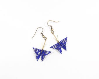 Blue and gold paper Butterfly origami earrings Japanese washi