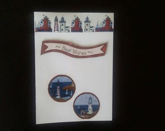 Lighthouse best wishes greeting card blank inside