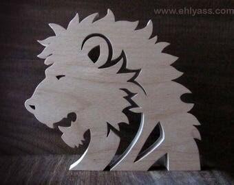 Solid wood fretwork Lion sculpture