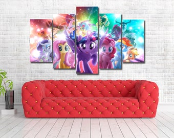 My Little Pony Movie Framed Canvas Print Wall Art Multi Panel 5 Panel