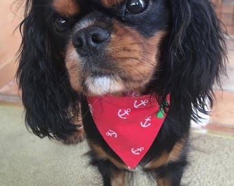 Designer Dog Bandanas for Dogs, Cats & Puppies in beautiful Red Nautical Sailor Cotton from The Bandana Cabana