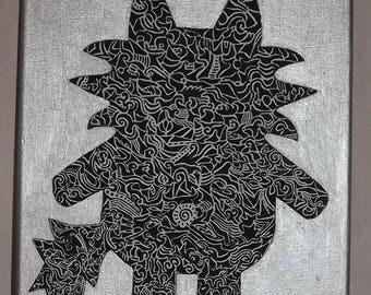 Canvas Mi-Chat graphic black, white and silver unique