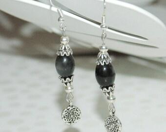 Black Swarovski Crystal dangling earrings