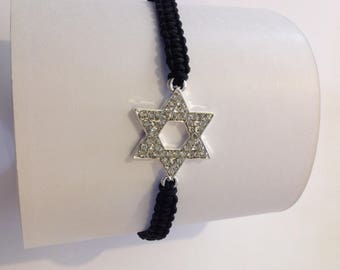Black wire and charm macrame bracelet star of David with multitude of rhinestones