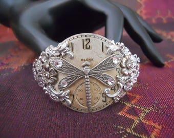 Antique Silver Steampunk Dragonfly Crystals Bracelet
