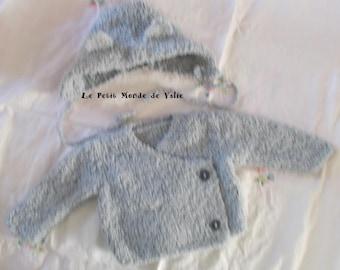 Set of 6 months wrap + gray color Hat