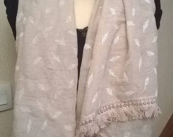 Beige color cotton printed scarf
