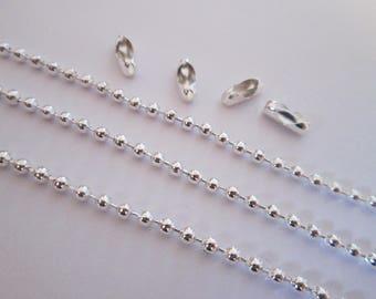 1 mètre chaîne a bille 2 mm + 4 fermoirs en métal argenté