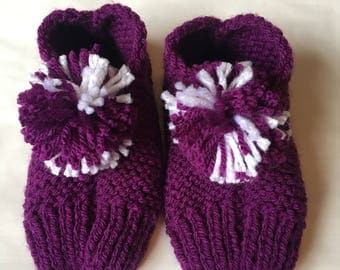 Handmade knitted slippers