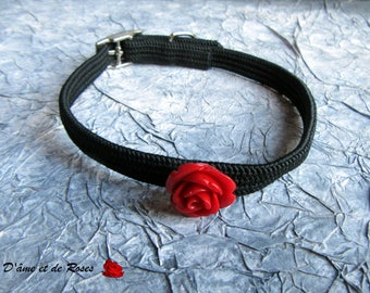 black and red rose necklace small dog or cat