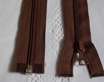 Detachable 60 cm dark brown zipper