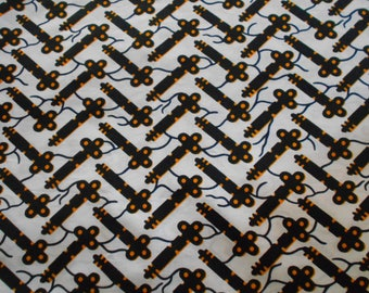 "Fabric, Ankara African wax orange 45 cm x 116 cm ""patchwork"" pattern"