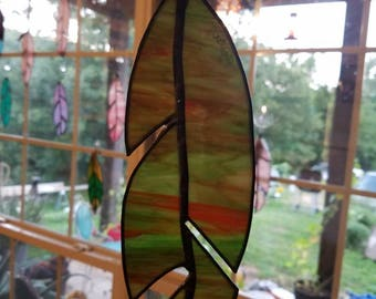 Green Camo Stained glass Feather