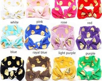 Baby Girl Multicolor Hair Hoops Headbands,Solid Bunny Ears,rabbit Bow Head wrap