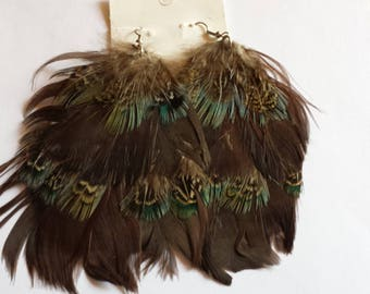 earring Peacock/silver/pluem/Brown/pendant/jewelry/gift/woman/girl/European/charm/lobe.