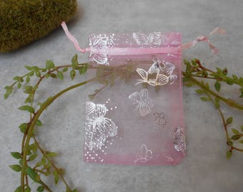 10 bags in organza and rose - 90mm X 70 mm