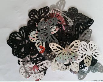 Bag of 50 butterflies embellishments openwork