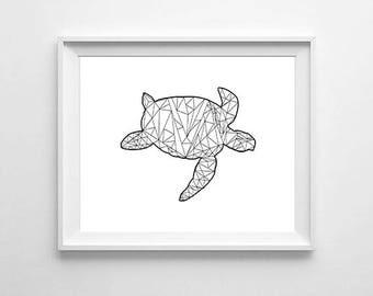 Geometric turtle, wall art, print, digital download