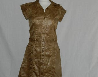Open front and Brown African bazin fabric fitted straight dress size unique T36 - 38