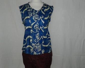 Shirt sleeveless grey and Brown - slim open front with 5 buttons