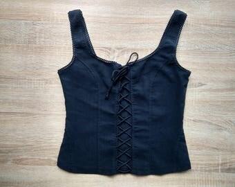 tank top/ crop top/ corset appereance top / black