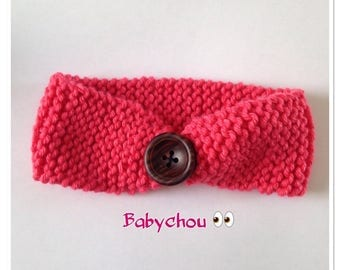 Headband Knit Beanie with button