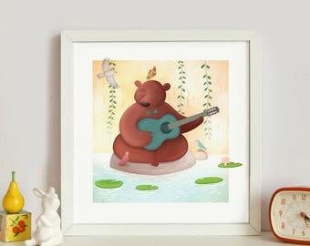"Postal 15X15cm card: ""Musician bear"""