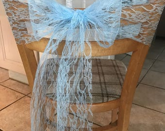 Lace blue chair sashes