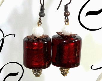 Ethnic bronze and Red earrings