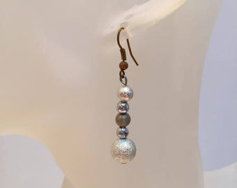 Silver glitter and Brown Pearl Earrings