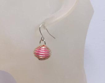 Pink tassel silver cage earrings
