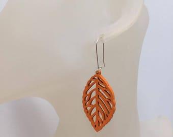Orange wood leaf earrings