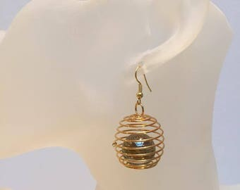 Golden brown bead cage earrings