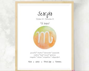 Scorpio | Zodiac Gift | Watercolor Print | Astrology Sign | Best Friend Gift  | DIY Wall Art | Scorpio Gift | Horoscope