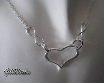 """Double infinity silver infinity heart"" necklace"