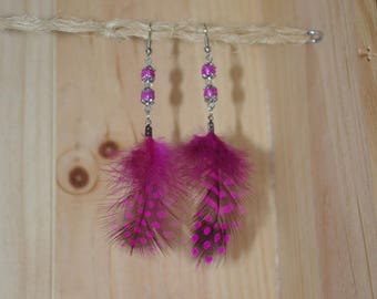 Earrings feather dangle - By Lily Creart'