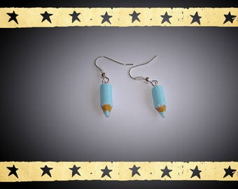 Mini Blue 20mm 6mm light mounted on silver plated earrings