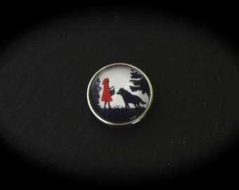 Cabochon in fancy pressure 18mm for jewelry - fairy tale: the little Red Riding Hood