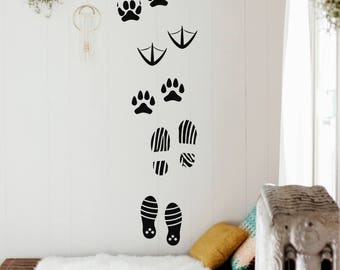 Human Footprint Wall Decals-Animal Footprints Wall Stickers - Footprint Vinyl Wall Decals- Vinyl Sticker-Wall Decal Bedroom