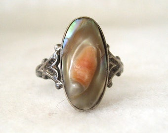 Art Nouveau Sterling Silver  Blister Pearl Ring
