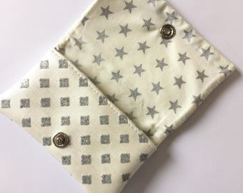 Glittery white and grey leatherette card case