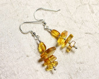 925 Silver earrings and 7-12mm natural honey amber