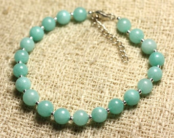 Bracelet 925 sterling silver and Turquoise 6mm blue Jade - stone