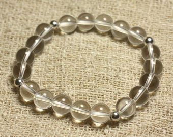 Bracelet 925 sterling silver and stone rock crystal Quartz 8mm beads