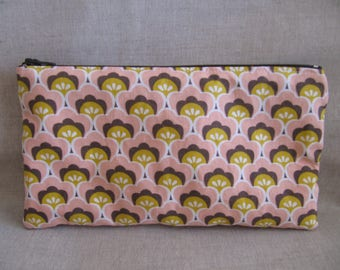 Vintage pink, Brown and mustard cotton fabric pouch.