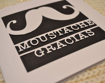 Moustache Gracias Thank You Papercut Greetings Card