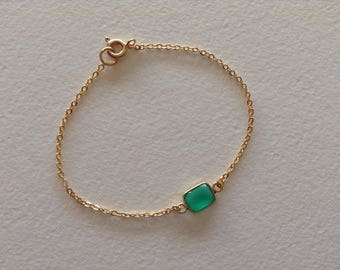"Bracelet set green Onyx ""A"" gold plated vermeil chain"