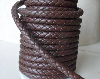 1 meter of scrapbooking 7 mm Brown leather braided cord