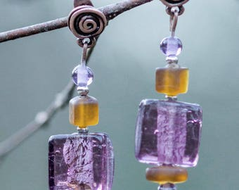 Silver, purple square glass bead earrings glass beads